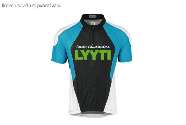 Lyytin logo pyöräilyasussa